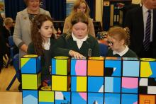 Pupils from Kilcooley Primary School in Bangor demonstrate their excellent mathematical skills at the launch of CSSC's Erasmus+ project.