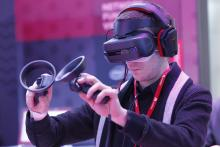 A person testing virtual reality equipment