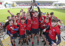 Craigavon Senior High rugby team lift trophy following victory