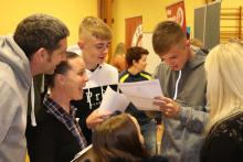 Abbey Community College students opening their GCSE results