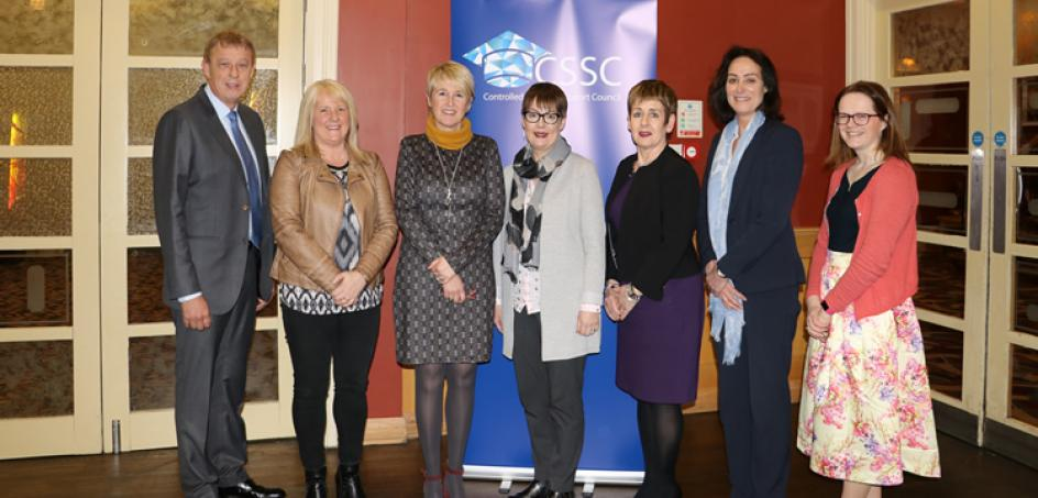 L-R - CSSC Chief Executive, Barry Mulholland with controlled school Principals Heather Murray, Gillian Dunlop, Grace Trimble, Maria Quinn, Michelle Rainey and CSSC's Head of Marketing, Research and Communication Sara McCracken.