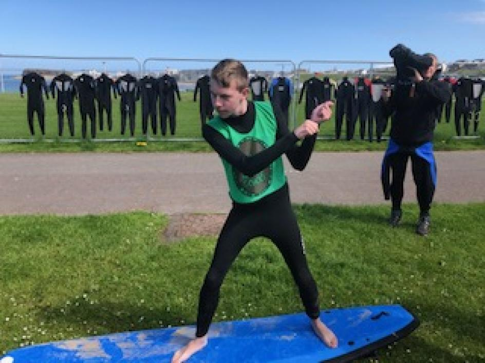 Pupil from Ardnashee School and College practicing surf therapy
