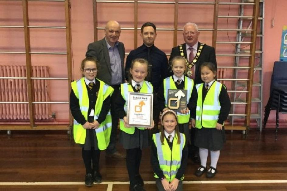 Doagh Primary School receives Gold Sustrans Active Travel Award